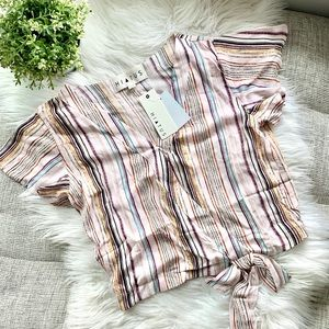 Hiatus Faux Wrap Tie Waist Striped Blouse | Large